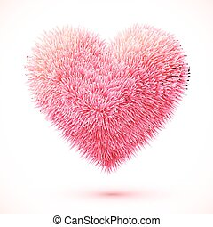 Red fluffy vector heart