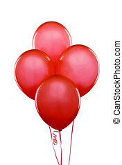 Red flying balloons on a white background