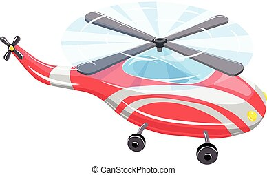 Red flying helicopter icon, cartoon style