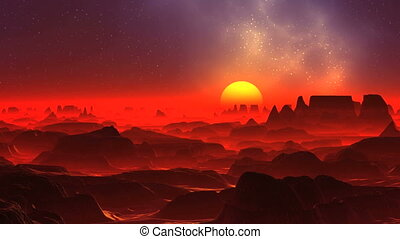 Red Fog on the Alien Planet