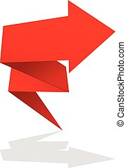 Red folded arrow icon - market rise symbol