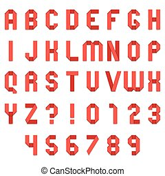 Red Folded Paper Font