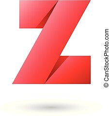 Red Folded Paper Letter Z Vector Illustration