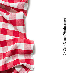 red folded tablecloth isolated on white