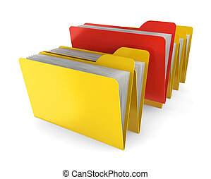 Red folder. 3d illustration on white background