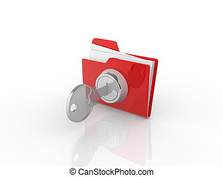3d Key and red folder.