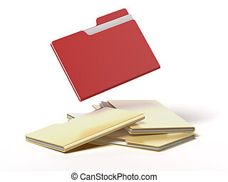 red folder among yellow isolated on a white background
