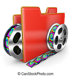 red folder and steel coils of film