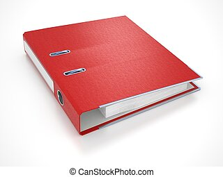 Red Folder Isolated on White. 3d.