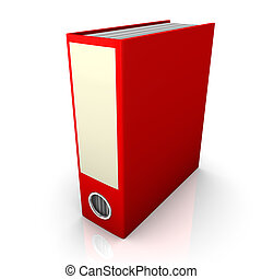 Red folder on the white background. 3d Illustration.