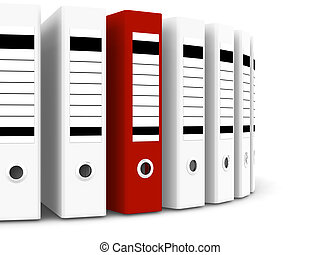 Red folder within white ones