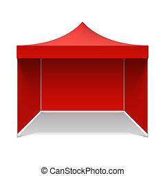 Red folding tent illustration