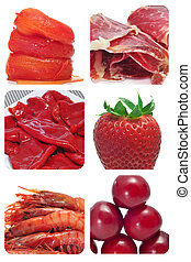 Red food collage