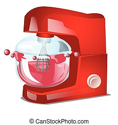 Red food processor or stand mixer, kitchen electrical equipment for cooking isolated on white background. Vector cartoon close-up illustration.