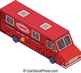 Red food truck icon, isometric style