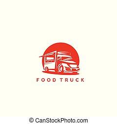 Red food truck vector illustration