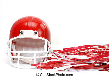 Red football helmet and p