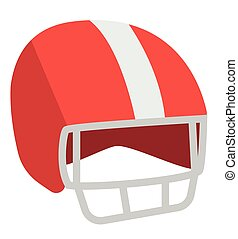 Red football helmet vector cartoon illustration.