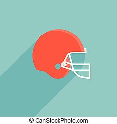 Red football helmet vector, flat design icon