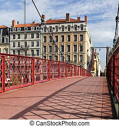 red footbridge in Lyon city in France