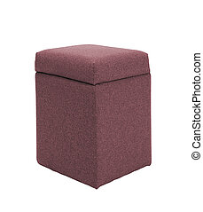 red footstool isolated on white background