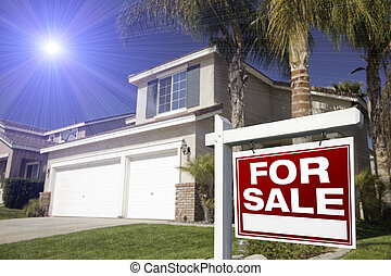 Red For Sale Real Estate Sign and House
