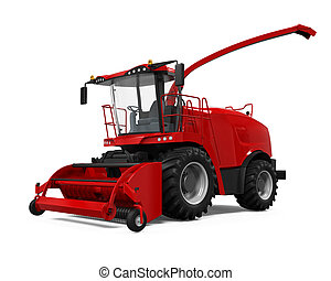 Red Forage Harvester isolated on white background. 3D render