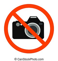 Red forbidden sign with camera behind it