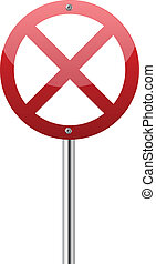 Red forbidden traffic sign isolated on white