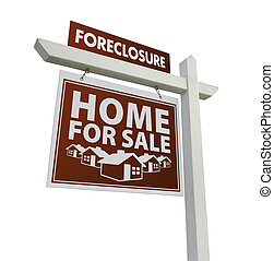 Red Foreclosure Home For Sale Real Estate Sign on White -...