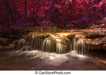 red forest and red waterfall