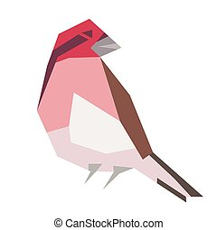 red forest bird flat illustration