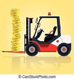 Red fork lift loader on yellow. Loading coins in storage. Construction machinery and ground works.