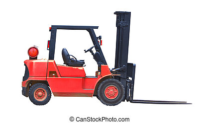 red fork lift truck isolated on white