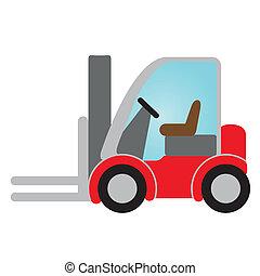 red forklift truck