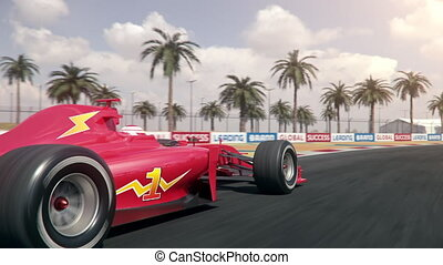 red formula one race car driving across finish line ? rear ...