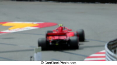 Red Formula One Race Car On Speed Track In Slow Motion