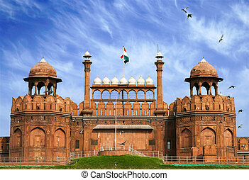 Famous Red Fort - Lal Qil'ah, UNESCO World Heritage Site in Delhi, India