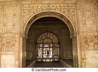 Red Fort Interior Delhi - Designs on White Walls, Red Fort...