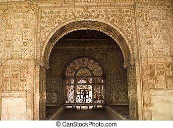 Red Fort Interior Delhi - Designs on White Walls, Red Fort...
