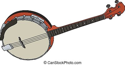 Red four strings banjo - Hand drawing of a classic red four...