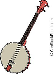 Red four strings banjo