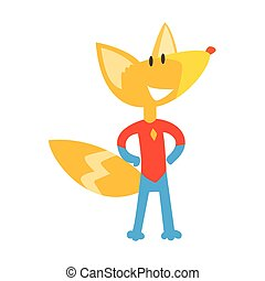 Red Fox Animal Dressed As Superhero With A Cape Comic Masked Vigilante Geometric Character
