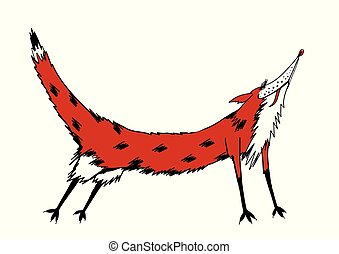 red fox. color vector illustration.
