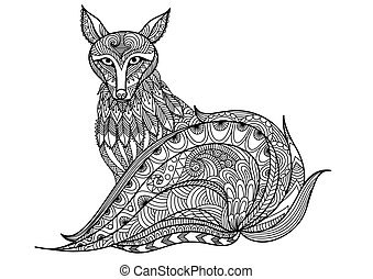 Red fox coloring book - Red Fox line are design for tattoo,...