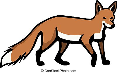 Red Fox - vector illustration a red fox standing