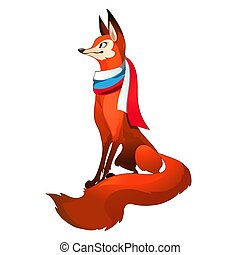Red fox forest with fluffy tail with scarf in the style of ...