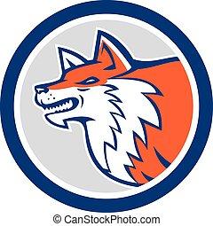 Red Fox Head Pouncing Circle Retro