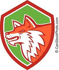 Red Fox Head Pouncing Shield Retro - Illustration of an...