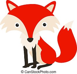 Red fox, illustration, vector on white background.